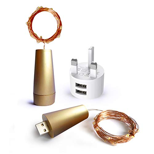 Gold Coloured/Bright White | Wine Bottle Lights by MISHIMOO | USB Rechargeable Cork Shaped LED String Lights | with USB Charger Included | 2 Pack