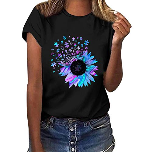 Camiseta de manga corta para mujer, diseño de girasol, estilo informal, básico, cuello redondo, para adolescentes, niñas, túnica, fitness, sudadera (negro, XXL)