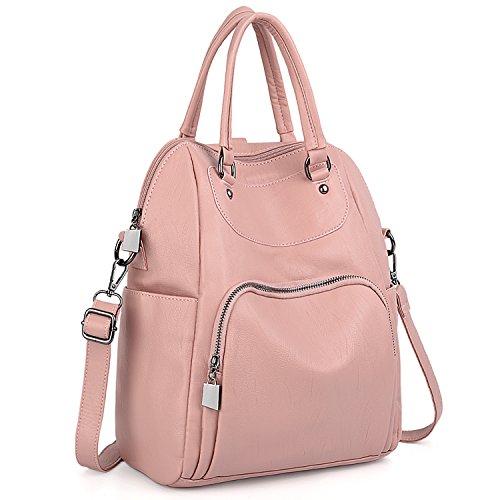 UTO Damen Rucksack Geldbörse PU Washed Leder Cabrio Damen Rucksack Crossbody Umhängetasche Pink