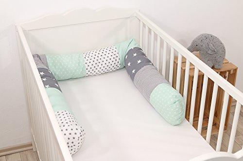 Baby Nestschlange | Made in EU | ÖkoTex 100 | Schadstoffgeprüft | Antiallergisch | Baby Bettumrandung | Bettschlange | Mint Grau | 200 x 13 cm | ULLENBOOM ®