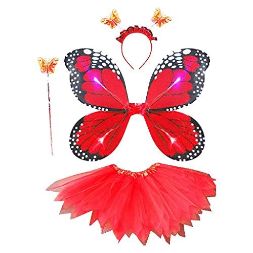 DealMux, 4 piezas, juego de disfraces de hadas para niños y adultos, LED, simulación de alas de mariposa, falda tutú puntiaguda, diadema de pared, princesa, vestido de fiesta de princesa