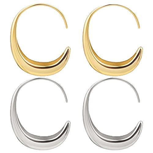 2 pares de oro de color geométrico mujeres moda prevenir la alergia oído gancho luna pendientes medio círculo joyería accesorios