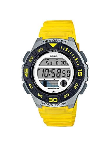 Casio Correa de resina de cuarzo para mujer, 10 años, amarillo, 19.9 reloj casual (modelo: LWS-1100H-9AVCF)