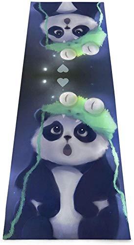 Toalla De Yoga Antideslizante,Cute Animal Panda Printing Eco-Friendly Fitness Exercise Mat,Tapetes De Meditación,Ejercicios De Piso Impresos &Pilato Fitness Mat Para Mujer 183×61cm