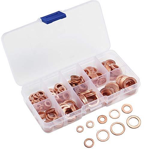 200 Stück Kupferdichtringe,Flat Copper Washer Flachdichtring Sortiment Kit Kupfer flache Scheibe Unterlegscheiben flache Dichtring Sortiment Kit mit Box (M5, M6, M8, M10, M12, M14, M16, M20)