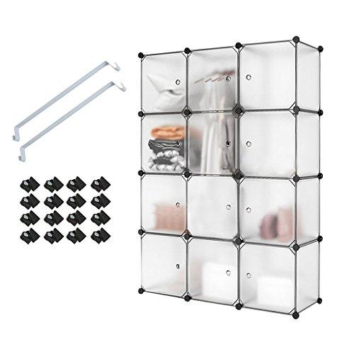 Meerveil 12 Kubus Kunststoff Kleiderschrank Garderobenschrank Steckregal DIY Modular Schrank Regalsystem mit 2 Kleiderstange, für Kleidung Schuhe Spielzeug und Bücher