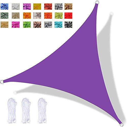 YAOYI Toldo Vela De Sombra Triangular, Toldo Impermeable, Protección UV, para Fiesta En El Patio De La Terraza del Jardín Al Aire Libre, con Cuerda (3x3x4.3m,Púrpura)