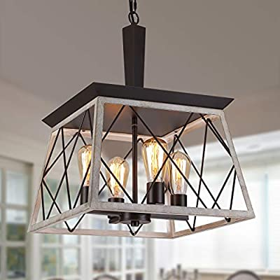 Q&S Farmhouse Vintage Chandelier, Rustic Pendant Light,Industrial Hanging Light Fixture for Dining Room Kitchen Island,Wrought Iron ,ORB+Oak White 4 Lights E26