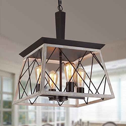 Q&S Farmhouse Vintage Chandelier, Rustic Pendant Light,Industrial Hanging Light Fixture for Dining Room Kitchen Island,Wrought Iron,ORB+Oak White 4 Lights E26