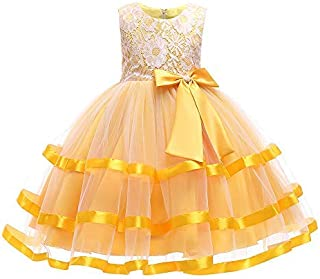 Ashtray - Child Girls Mesh Simple Lace Bowknot Princess Wedding Performance Formal Tutu Dress Clothes