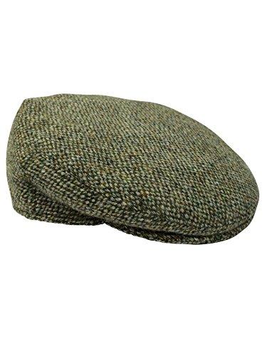 Harris Tweed - Berretto da uomo stile basco, completamente piatto, disponibile in 4 colori Verde Fleck 60cm