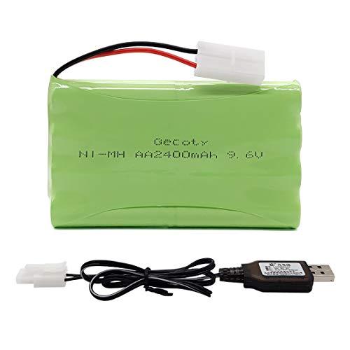 Gecoty® 9,6V 2400mAh RC Akku, wiederaufladbarer NI-MH AA Akkupack mit USB Ladekabel und KET 2P Stecker, für ferngesteuertes Spielzeug, Beleuchtung, Elektrowerkzeuge, Haushaltsgeräte