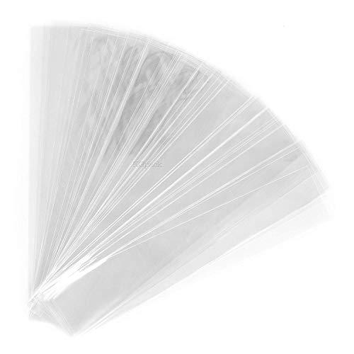 kgpack 200x Bolsas de plastico Transparentes 25 x 5 cm | Bolsa de plástico para Galletas | Bolsas de celofán | Bolsitas de plástico para Pasteles Magdalenas de Chocolate Piruleta