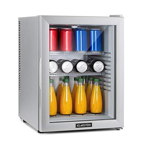 Klarstein Brooklyn - Minibar Mini-Kühlschrank, thermoelektrisches Kühlsystem, 3-stufige Kühlung: bis 12 °C, EcoExcellence System: Energieeffizienzklasse A, geräuschlos: 0 dB, 42 Liter, silber