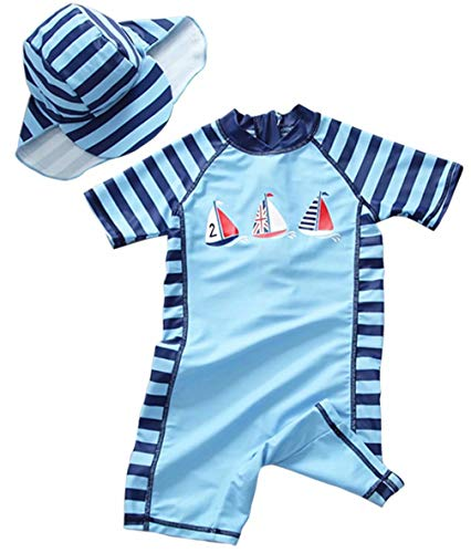 EGELEXY Toddler Swimsuits Baby Boy Swimsuit One-Piece Rash Guard Long Sleeve Bathing Suit Sun UV Protection Swimwear Size 4T /Tag 110 (Blue)