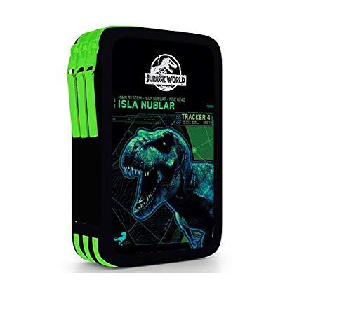 Dinosaurier Dino Jurassic World T-Rex 3-Stock Dreistöckige FEDERTASCHE FEDERMAPPE Federmäppchen + Sticker von Kids4shop Dino 3 - Fächer