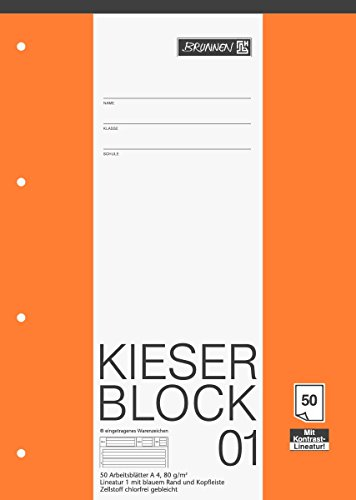 Brunnen 1042941 KIESER-Block Lineatur 1 (A4, 50 Blatt, gelocht, 80 g/m², Klasse 1)