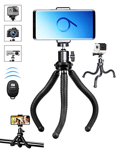Phone Tripod,Premium Flexible Phone Tripod and Phone Stand with Wireless Remote Shutter,Compatible with iPhone Xs Max Xr 8 7 6 6s Plus, Android, Samsung Galaxy S10 S9,Gopro and More