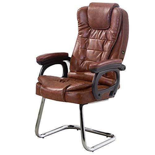 JIEER-C slaapkamermeubels, bureaustoel, gevoerd, extra massagefunctie, kantelbaar, 145 °, werkstoel, hoge rugleuning, kogellagers 150 kg (kleur: zwart) Bruin