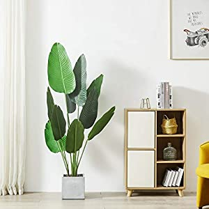 Silk Flower Arrangements Cozy Castle 62in Artificial Bird of Paradise Palm Tree, 10 Leaves Fake Travelers Palm Tree, Evergreen Faux Plants, 5-Feet Fake Tree, Fake Banana Leaf Plant with Pot for Living Room, Farmhouse, Office