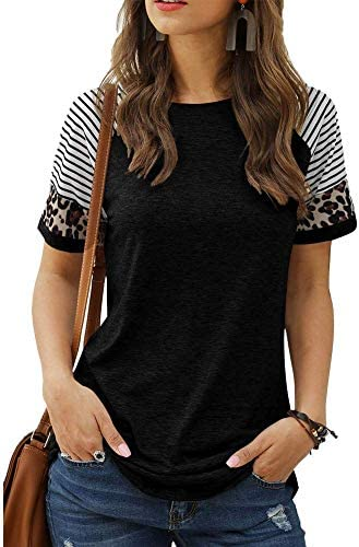 Laffyett Women s Short Sleeve Leopard Print Tee Crew Neck Color Block Striped Shirts Comfy Tunic product image