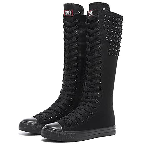 Momuk Punk Style Long Rivet Canvas Boots Knee High Casual Fashion Skirt Dress Shoes for Women & Girls Size 9 B(M) US Black