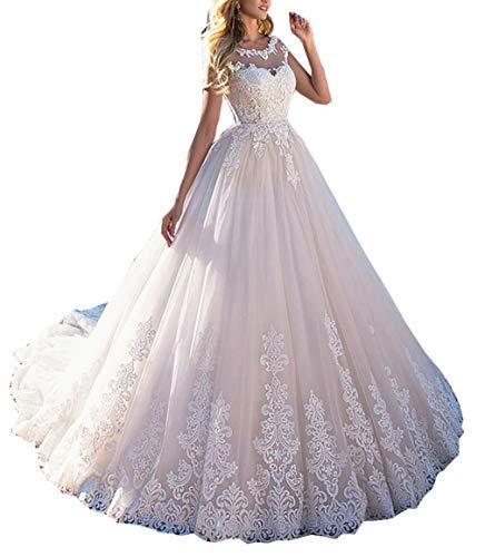 Solandia Vestido de noiva com laço e ilusão de cauda Vestidos de casamento para noivas Plus Size, Branco, 14