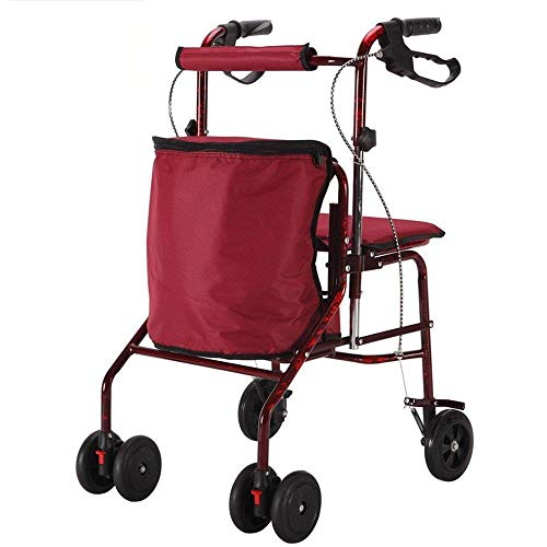 wheelchair carts BLRYP Shopping Trolley Outdoor Can Sit Elderly Small Wheelchair Cart to Help Portable Cart Folding Shopping Carts Home,Supermarket