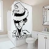 Firelife One Piece Luffy Duschvorhang Anti-Schimmel Wasserdicht Waschbar Polyester Japanisch Anime Badezimmer Vorhang mit Haken Weiß 120x200cm
