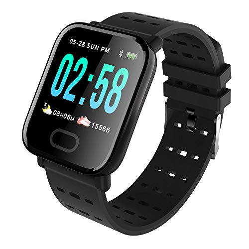 KawKaw Smartwatch Generation X Für Damen Herren & Kinder Mit Fitness Activity Tracker Health Armband Schrittzähler Pulsuhr Wasserdicht Blutdruck - Sport Uhr Für iOS Android & Whatsapp (Schwarz)