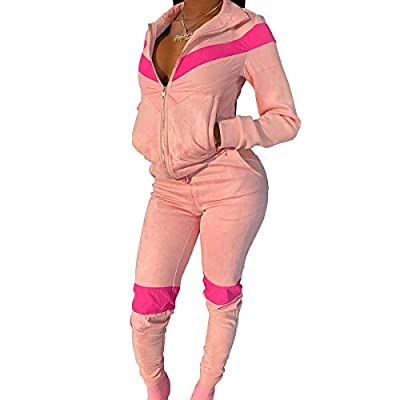 TOPSRANI Women 2 Piece Velour Tracksuit Matching Casual Jogging Outfits Color Block Sweatsuits Jogger Suits Pants Set Pink L