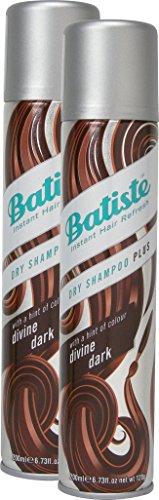 Batiste Trockenshampoo Dry Shampoo Divine Dark mit einem Hauch von Farbe für schwarzes und dunkelbraunes Haar, Frisches Haar für alle Haartypen, 2er Pack (2 x 200 ml)