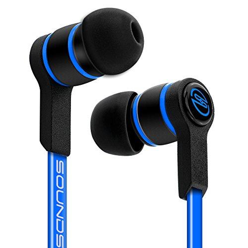 deleyCON SOUNDSTERS S18 In-Ear Kopfhörer - 3,5mm Klinken Stecker 90° abgewinkelt - Hochwertige Soundqualität mit kraftvollem Bass - verschlaufungsfreies TPE Flachkabel - Blau