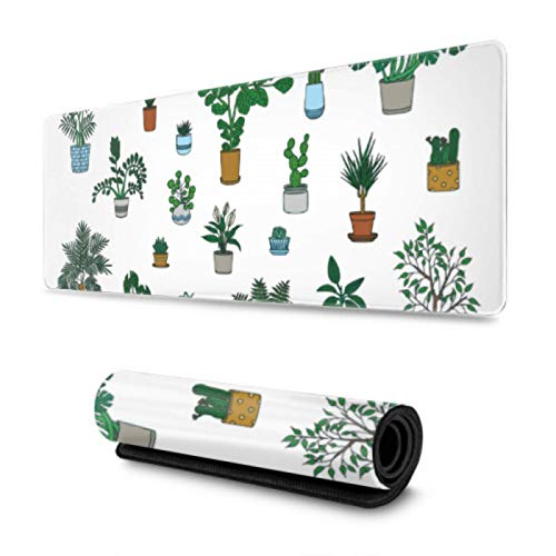 House Home Green Lovely Plants Gaming Desk Mousepad 31.5x11.8 Inch Wide & Long Desk Mouse Pad Mat For Computer/Laptop