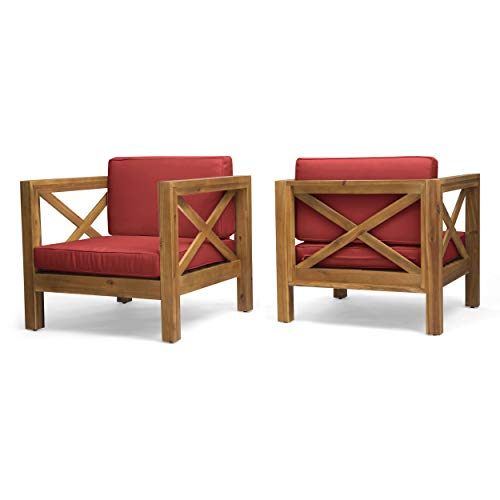Great Deal Furniture Indira Outdoor Acacia Wood Club Chairs with Cushions (Set of 2), Teak Finish and Red