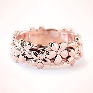maledery Genuine Solid 14K Rose Gold Floral Ring Lucky Daisy Plum Blossom Cherry Flower Jewelry Anniversary Proposal Gift Party Infinity Band Engagement Wedding Rings Size 5 6 7 8 9 10