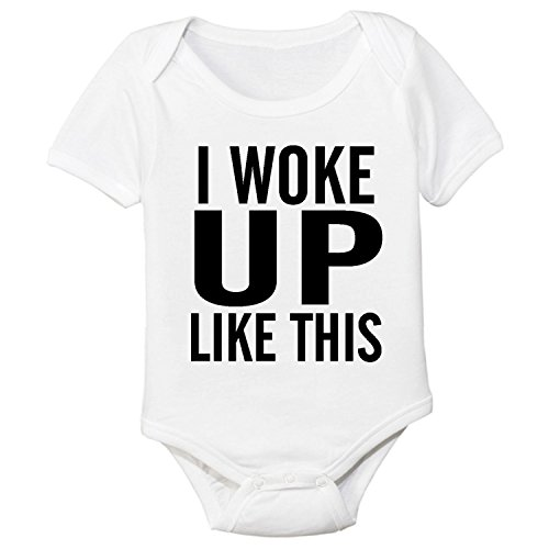 DKISEE Baby Body I Woke Up Like This White Funny Infant Strampler Kurzarm Baby Onesie 3 Monate