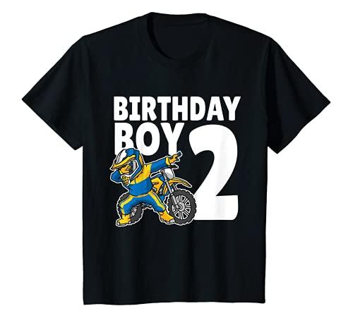 Niños 2º Cumpleaños Dabbing Motocross Motociclistas 2 Años Camiseta