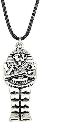 YUNQIYZH Co.,ltd Collar para Hombres Mujeres Collar de faraón Egipcio Collar Colgante para Mujeres Collar Cadena de Cuero Antiguo Bronce Antiguo Color Plata Moda Colgante Collar niñas niños Regalo