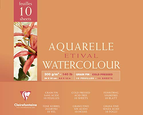 Clairefontaine 96571C Malblock, 4-seitig verleimt Aquarellpapier Feinkörnig, Etival/Zellulose, 24 x 30 cm, 10 Blatt, 300 g Packung, weiß