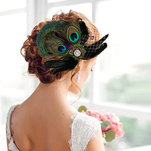 E-More Tocado de novia con flores para el pelo, accesorios para el pelo, tocado para vestido de noche, con diamantes de imitación, horquilla de pavo real, para mujeres y niñas