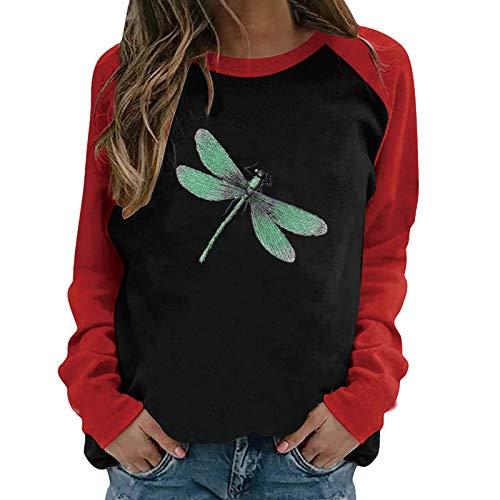 Masrin Mask Frauen Pullover Damen Casual Dragonfly Print Sweatshirt O-Ausschnitt Raglan Langarm Color Block Patchwork Tops Bluse(XL,Schwarz)