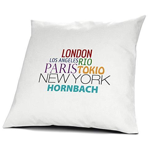 printplanet Kopfkissen Hornbach, Kissen mit Füllung, Famous Cities of The World, 40 cm, 100% Baumwolle, Städtekissen, Souvenir, Geschenkidee