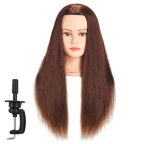 Cabeza de maniquí Hairginkgo 61-66 cm Cabeza de maniquí de cabello humano Cabeza de entrenamiento de peluquería Cabeza de muñeca de cosmetología con soporte de abrazadera (91812W0418)