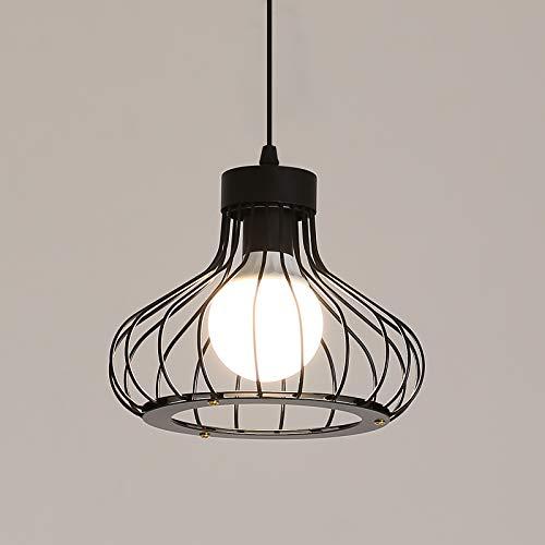 Industrial Vintage Lámpara Colgante, Metal Luz Lámpara de Techo Iluminación Colgante, E27 Lámparas de Araña Pasillo Porche, Negro, Ø23cm