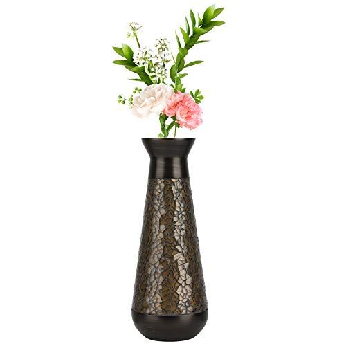 Lewondr Blumenvase Decorative Vase, 9 Zoll Schwer Harzvase mit Modern Mosaik Glas und Krempe Design, Deko Vase für Büro Wohnzimmer Arbeitszimmer Tisch - Bronze