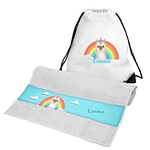Eurofoto Handtuch + Turnbeutel Set mit Namen Emma und Llama-Einhorn-Motiv für Mädchen | Handtuch und Turnbeutel Bedruckt |