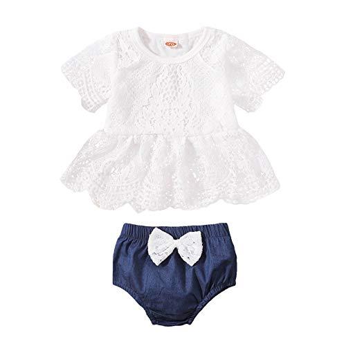 Julhold Conjunto de trajes para niños pequeños de encaje tops + arco de mezclilla pantalones cortos conjuntos lindos recién nacidos ropa de verano