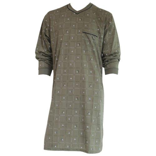 Lavazio Herren Nachthemd mit langem Arm mit Motiv und V-Ausschnitt in 8 Farben Nr. 4940, Größe:M, Farbe:grün