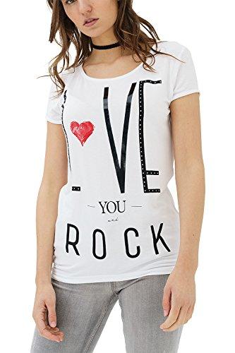trueprodigy Casual Mujer Marca Camiseta con impresión Estampada Ropa Retro Vintage Rock Vestir Moda Cuello Redondo Manga Corta Slim Fit Designer Fashion T-Shirt, Colores:White, Tamaño:L